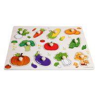 Baby Children Wooden Vegetable Attractive Early Learning Puzzle Plate Hand Toys
