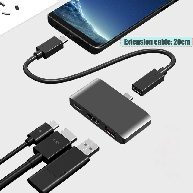 BFOLLOW 3 in 1 Dex Station for Samsung S8 S9 S10 Plus / Note 8 9 10 Pro Pad PD Adapter Type C to HDMI for Huawei