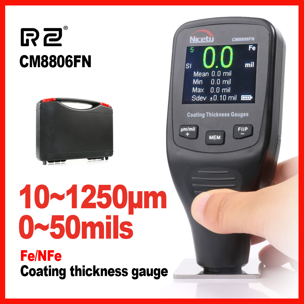 Automotive Car Paint Thickness Gauge Gauges of Paint and Varnish Film Coating for Cars Meter CM8806FN Fe NFe 2 in 1 Nicety цена