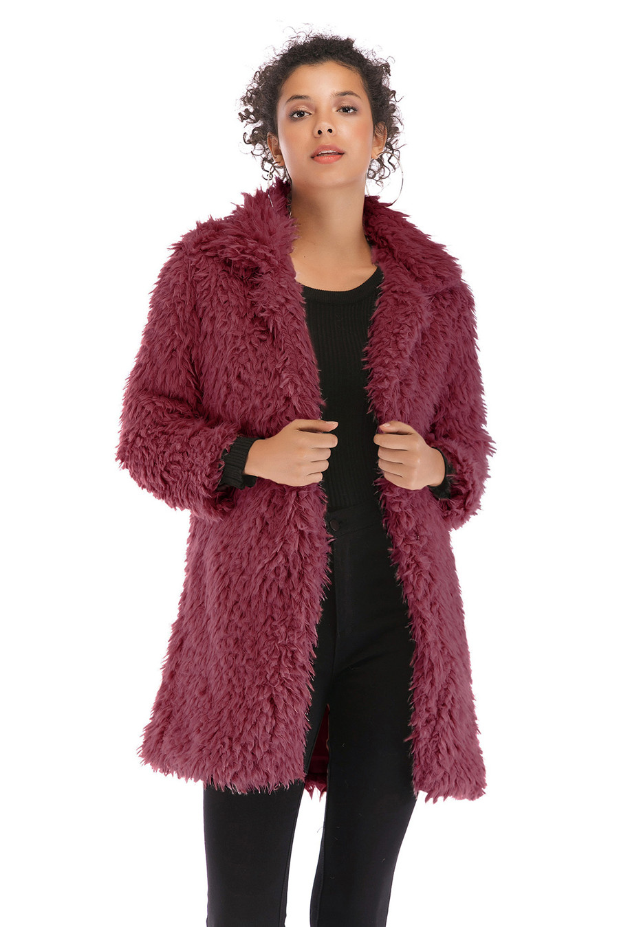 Gladiolus 2018 Women Autumn Winter Coat Turn-Down Collar Long Sleeve Covered Button Long Warm Shaggy Faux Fur Coat Women Jackets (12)