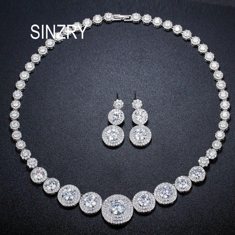 Ensemble de bijoux de mariée design Unique SINZRY couleur or blanc zircon cubique plaque ronde cz collier de mariage de luxe boucle d'oreille ensemble de bijoux