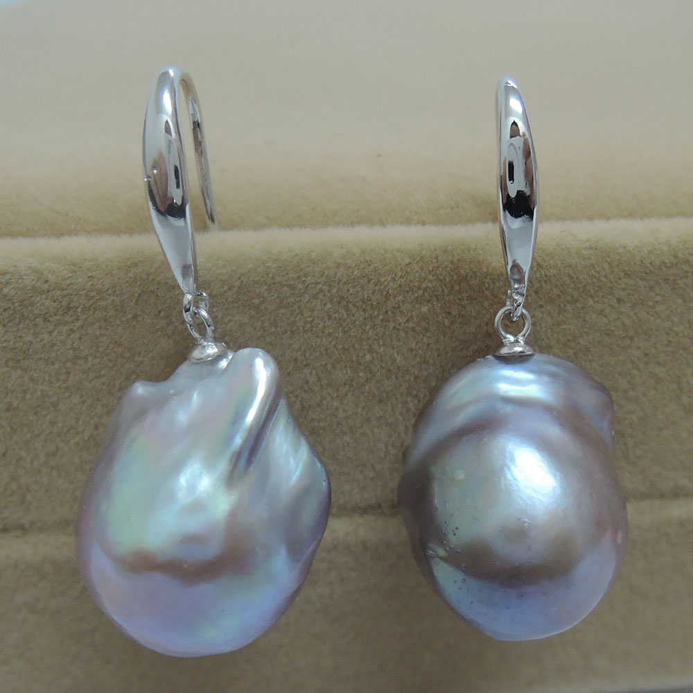 100% nature freshwater pearl earring with 925 silver hook AAA baroque purple Pearl,14 17 mm big baroque pearl earring