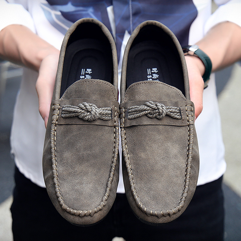 brown Nouveau Cuir Chaussures Les Black Occasionnels Souple De grey Sur Hommes Printemps Mocassins En Appartements Automne 2018 Glissement Solide UwOxqdfd