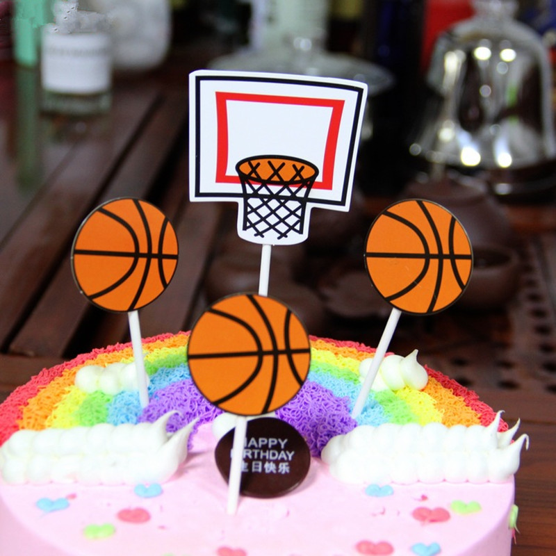 Bands Without Stones 4pcs Basketball Football Baseball Cake Toppers Muffin Cake Cupcake Picks Toppers Kids Birthday Party Decoration Supplies