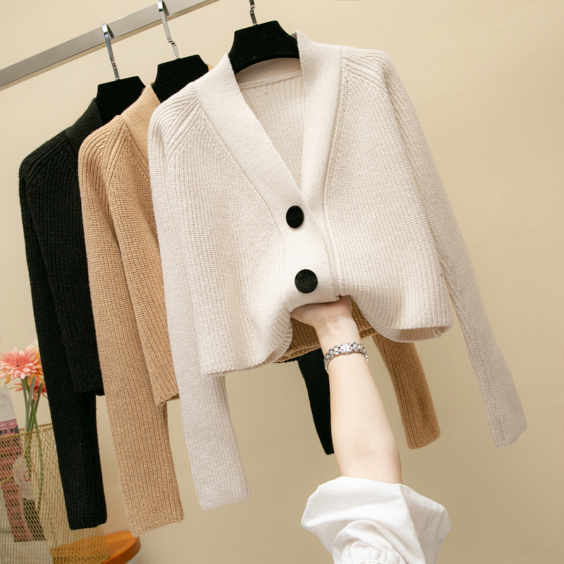 Women Sweater Korean Fashion Woman Cardigan Knitted Coat Jacket Office Lady Wool V Neck Sweaters Jacket Office Lady Sweater Coat in Cardigans from Women 39 s Clothing