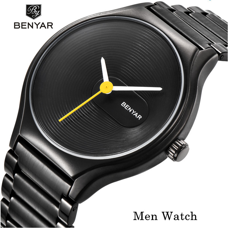 BENYAR Watch Men Women Couple Gift Lover's Waterproof Ladies Clock Mens Stainless Steel Quartz Wrist Watch Simple Design Watches