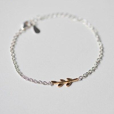 88c230daf72d 925 hoja de oro de plata Pulseras y brazaletes nueva pulsera de moda para  las mujeres-plata esterlina-joyería