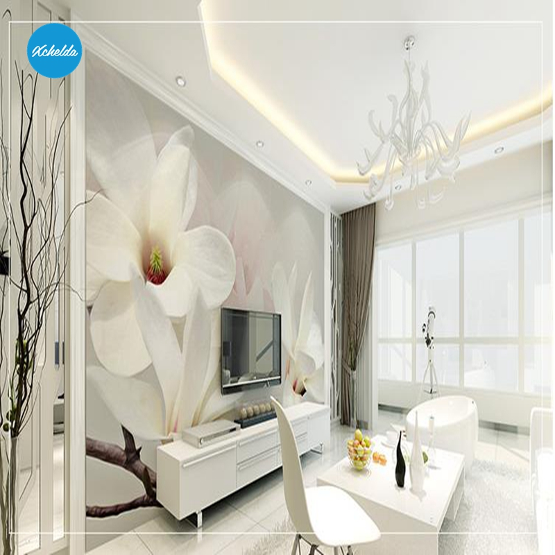 XCHELDA Custom 3D Wallpaper Design White Lilies Photo Kitchen Bedroom Living Room Wall Murals Papel De Parede Para Quarto kalameng custom 3d wallpaper design street flower photo kitchen bedroom living room wall murals papel de parede para quarto
