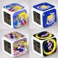 Sailor Moon Reloj de Alarma Luz de La Noche Encantadora Popular Plaza LED Colorido Reloj Electrónico Digital Japón Anime Juguetes Pequeño Regalo # F