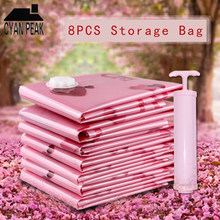 8pcs/set Vacuum Bags for Clothes Plastic Storage Bag Wardrobe Organizer With Hand Pump Reusable Blanket Compressed Clothes Bag(China)
