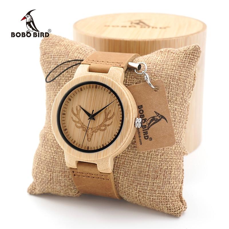 BOBO BIRD wooden men watches Simple Buck Head Design Men Top Brand sport quartz Wood Bamboo Wrist Watch gifts