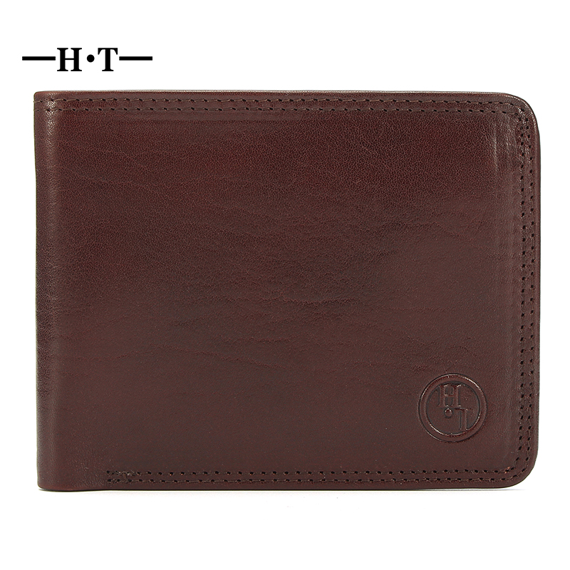 HT Short Wallet Genuine Cowhide Leather Bifold Purses Man Credit Card Holder Business Style Male Wallets Small Carteria Purse