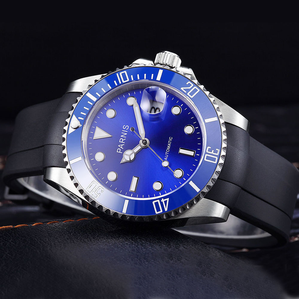 40mm parnis Blue Dial Sapphire Glass Blue ceramic Bezel Luminous Hands Rubber 21 jewels Miyota Automatic Movement men's Watch 41mm parnis blue dial ceramic bezel stainless steel sapphire glass date adjust 21 jewels miyota automatic movement men s watch