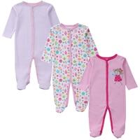 3 PCS Pink Monkey Baby Romper Long Sleeves 100 Cotton Baby Pajamas Cartoon Printed Newborn Baby