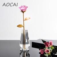 23 cm AOCAI crystal pink rose fiore per la madre fidanzata regalo cara mestieri di nozze Decorazione Della Casa Artigianato