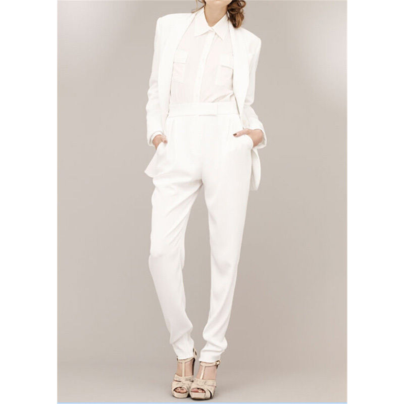 White Female Trouser Suits Formal Business Work Suits Slim Female Office Uniform Custom made Bespoke New 100% Suits A036