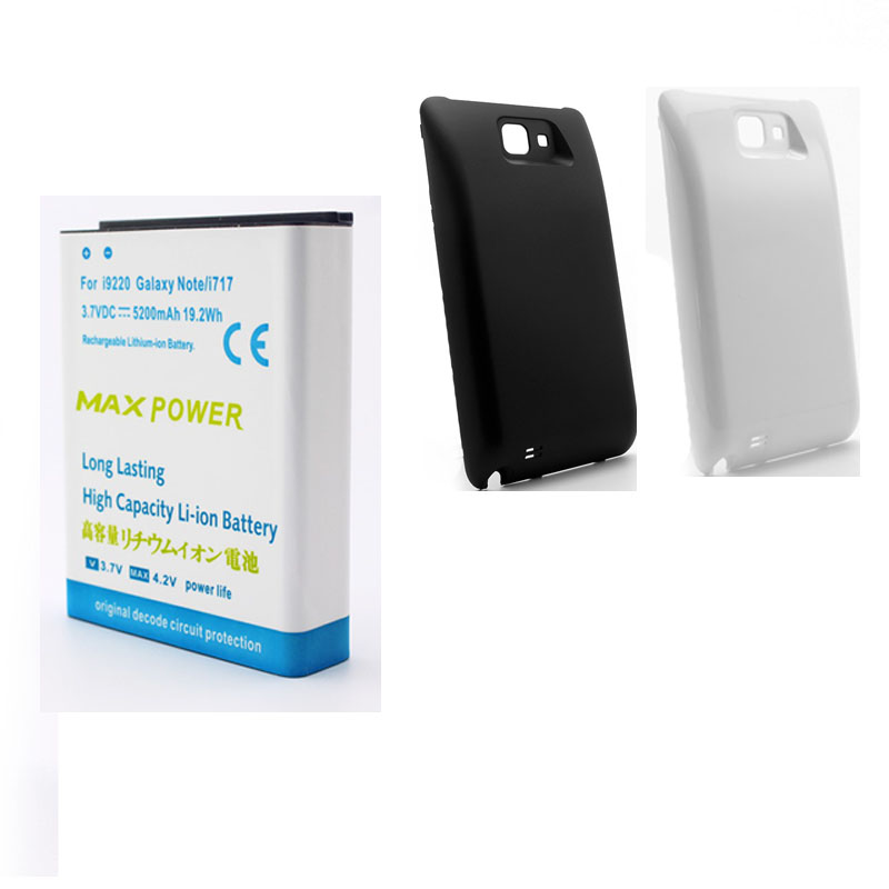 High Capacity 5200mAh Extended Replacement Li ion Battery Black White Back Cover For Samsung Galaxy Note