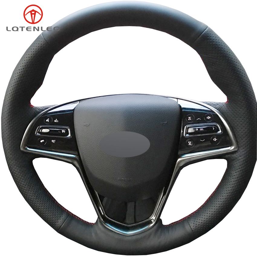 LQTENLEO Black Genuine Leather DIY Car Steering Wheel Cover For Cadillac ATS ATS-L 2013-2019 CTS 2014-2017 ELR 2014-2018 steering wheel