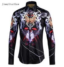 2017 New Cotton British Style Dress Shirts High Quality Men Casual Shirt Men Gothic Wind Print Plus Size Slim Fit Non-iron Shirt