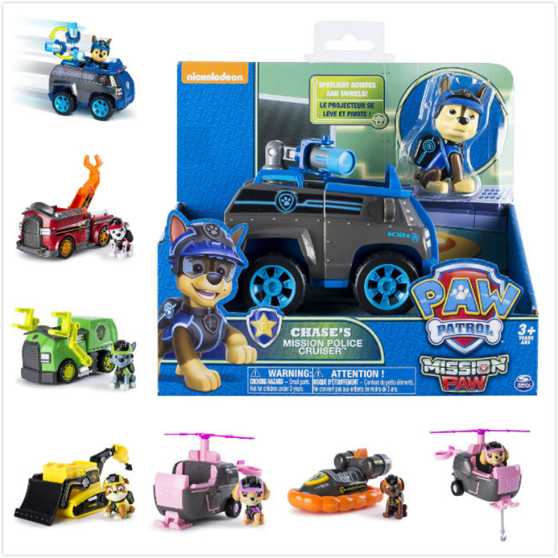 Nickelodeon Genuine Paw Patrol Mission Paw Chase marshall rocky rubble skye zuma Vehicle & action figure kids Birthday toy gift Щенячий патруль
