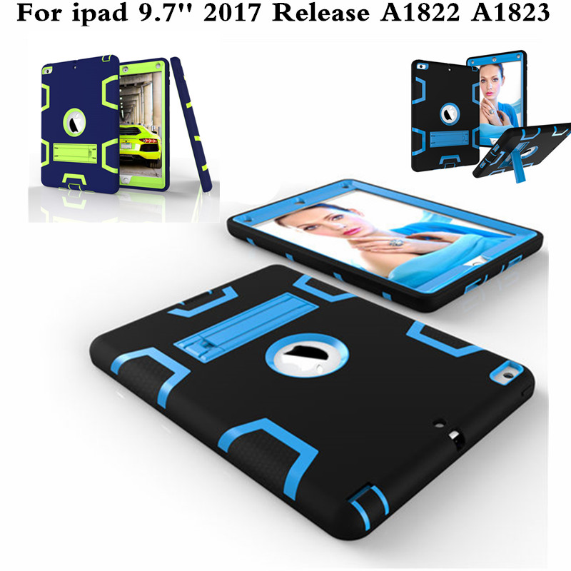 Fashion Kids Safe Armor Silicon PC Shockproof Hybrid Heavy Duty Rugged Funda Case Cover For New ipad 9.7 2017 A1822 A1823 Tablet case for apple ipad pro plus 12 9 tablet heavy duty rugged impact hybrid case kickstand protective cover for ipad pro 12 9