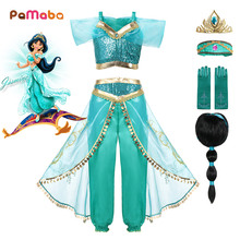 PaMaBa Girls Princess Jasmine Party Wear Fancy Clothing Set Top Pants Headband Child Aladdin and the Magic Lamp Costume Dress up