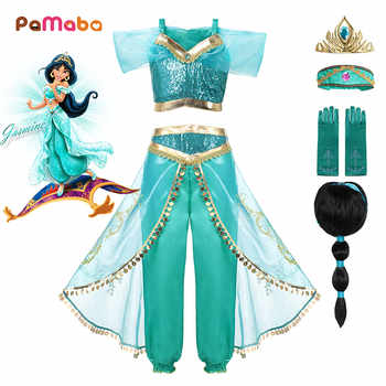 PaMaBa Girls Princess Jasmine Party Wear Fancy Clothing Set Top Pants Headband Child Aladdin and the Magic Lamp Costume Dress up - DISCOUNT ITEM  30% OFF All Category