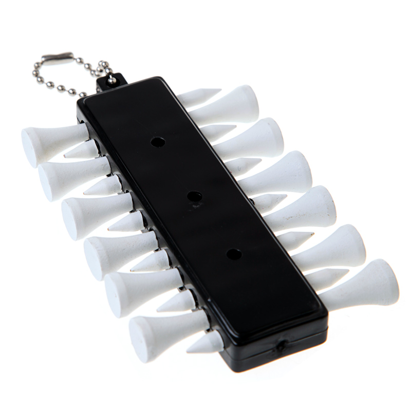 Image 5 - 1PCS Outdoor Golf Accessories Golf Tee Holder Carrier 12 Wooden Plastic Tees with 3 Ball Markers with Keychain