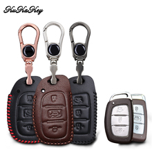 цена на KUKAKEY 3 Button Leather Car Key Case Cover For Hyundai IX25 IX35 I20 I30 I40 hb20 Santa Fe Creta Solaris 2017 Key Shell