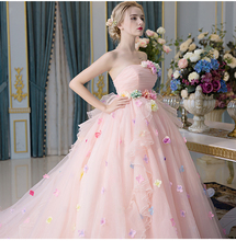Pink Flowers Ball Gown Wedding Romantic Strapless Sleeveless Court Train 2016 Vestidos De Noiva NM 665