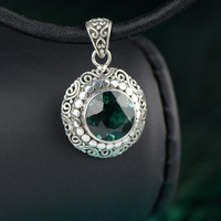 Genuine 925 Silver Pendant For Women WIth Emerald Natural Gemstone Personalized Amulets And Talismans Colgantes Mujer
