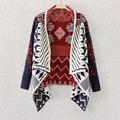 2016 Spring & autumn irregular diamante teste padrão geométrico camisola de malha cardigan Xale casaco Cardigan