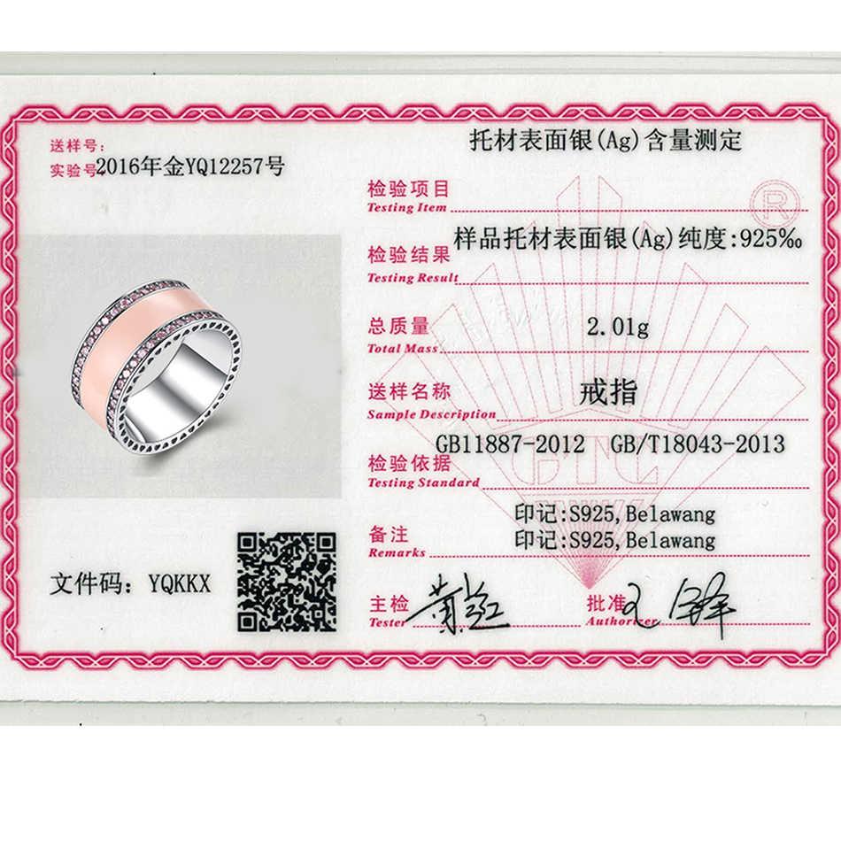 ELESHE 100% แหวนเงินแท้ 925 สำหรับผู้หญิงคลาสสิกสีชมพูแหวนหญิง 2019 แฟชั่นเครื่องประดับ