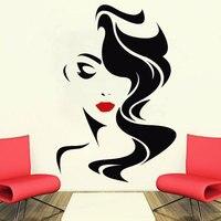 Наклейка на стену Красота салон для леди красные губы винил Стикеры Home Decor парикмахер прическа парикмахеры Окно Наклейка SL06