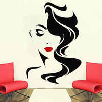 Wall Decal Beauty Salon For Lady's Red Lips Vinyl Sticker Home Decor Hairdresser Hairstyle Hair Hairdo Barbers Window Decal SL06