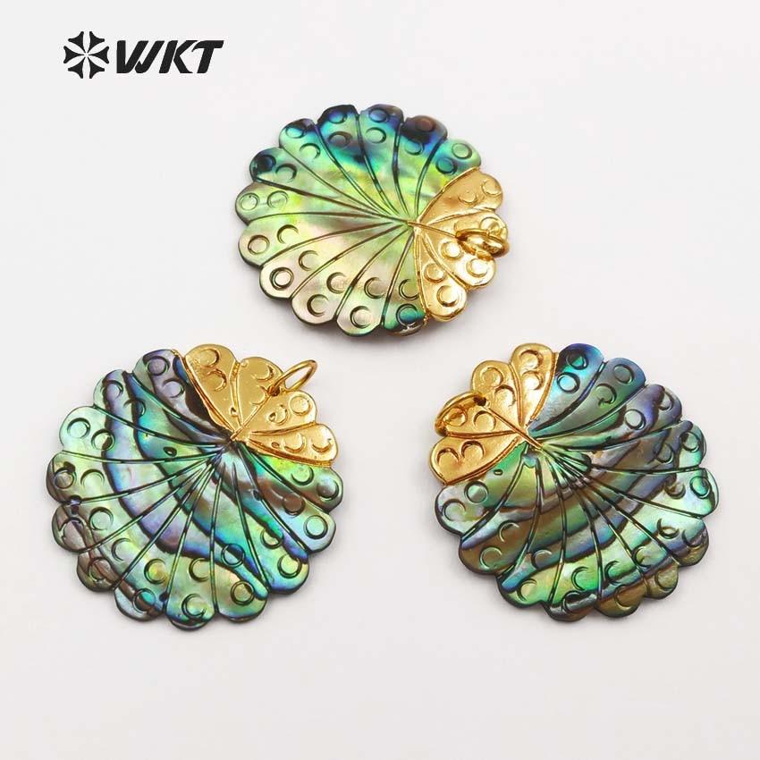 WT JP045 WKT Beautiful new style women jewelry natural abalone shell pendant gear round shape green