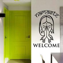 Criativo Namaste Yoga Indiano Da Parede do Vinil Decalques Adesivos de Parede Home Decor Art Mural Senhora Menina Bem vindo Parede Arte Mural YJ22