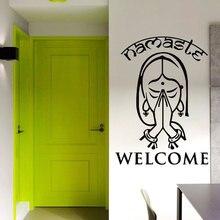Kreative Wand Vinyl Aufkleber Indische Yoga Namaste Wand Aufkleber Home Decor art Mural Dame Mädchen Willkommen Wand Kunst Wandbild YJ22