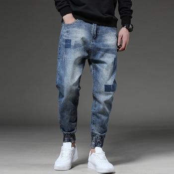 Odinokov Fashion Men Jeans Slim Fit Dark Blue Color Destroyed Ripped Jeans Homme Balplein Brand Jeans Men Motor Biker Jeans