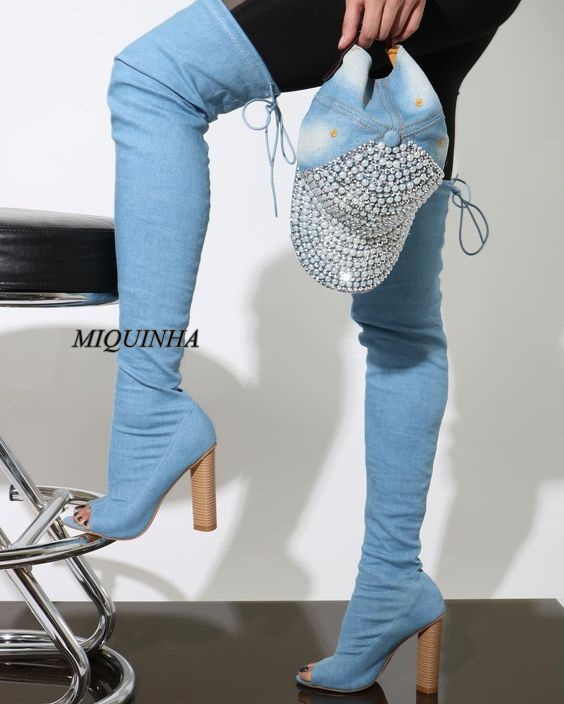 new arrival blue jeans over-the-knee long boots women chunky high heel thigh high shoes peep toe lace up sexy shoes  new arrival high quality over the knee women boots sexy pointed toe shoes stiletto high heels blue denim jeans women boots