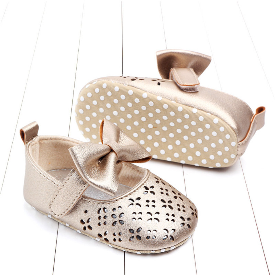 Baby girls first walker toddler summer anti-slip soft bottom girl princess shoes big bow hollow out baby shoes wedding party shoes