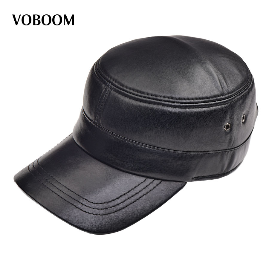 VOBOOM Autumn Winter Suede Sheepskin Hat Male Flat Cap Leather Men's Classic Leisure Leather Hat Cap 1103 military hat flat cap m177