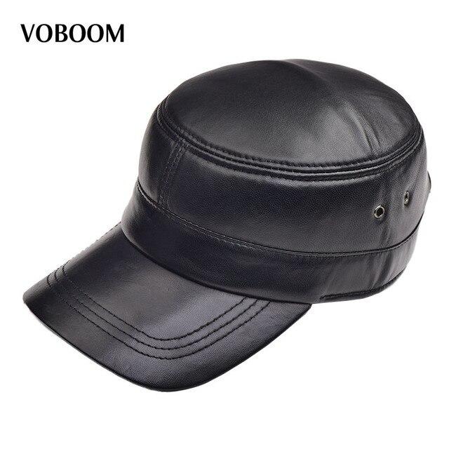 VOBOOM Autunno Inverno Camoscio Pelle Di Pecora Cappello Maschile Berretto  Cappello di Cuoio Berretto Piatto Uomini eb35d2d3e829
