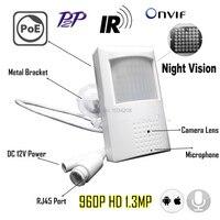 960P Night Vision Poe Ip Camera Pin Hole 940nm Infrared Ip Camera Audio IR POE PIR