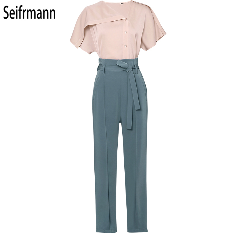 SeifrmannNew 2019 Women Spring Summer Suits Runway Fashion Designer Gorgeous Coat Bow Tie Long Pants Elegant Slim Two Pieces Set in Women 39 s Sets from Women 39 s Clothing
