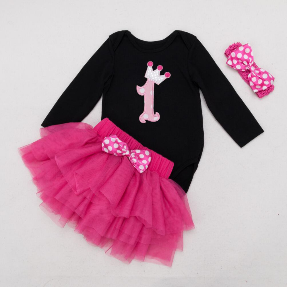 3 piezas por juego de manga larga negro niña 1er cumpleaños vestido - Ropa de bebé