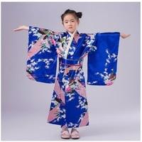 Fashion Blue Japanese Girl Kimono Dress Tradition Kid Yukata Kid Girl Dance Costumes Child Cosplay Dress Floral