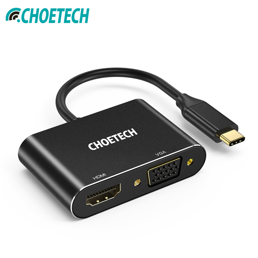CHOETECH Type C to HDMI+VGA Adapter 2 in 1 USB C to HDMI 4K VGA 1080P Adapter For Galaxy Note 8/S9 Plus 2017/ 2016 MacBook Pro