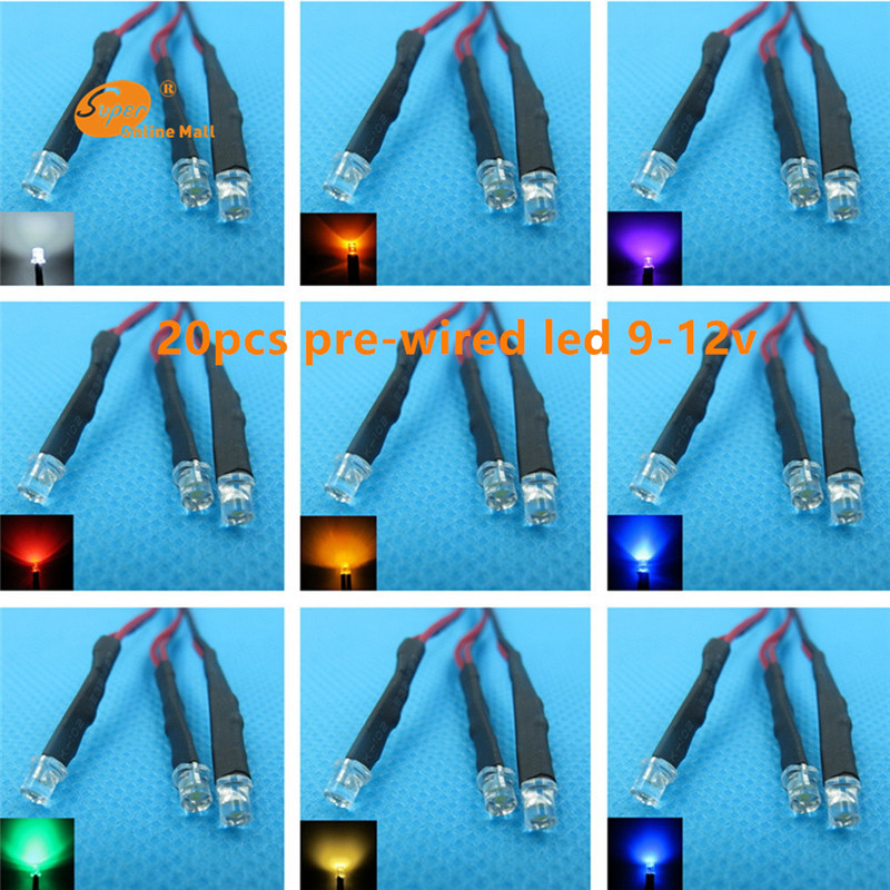 20pcs 3mm Flat top LED Pre Wired 20CM Resistor 9-12v Emitting Diodes Wide Angle Light Bulb lamp for car DIY