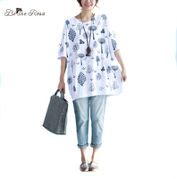 BelineRosa 2017 Plus Size Women Tops Casual Trees Printing Soft Cotton Loose T Shirts Women Fit